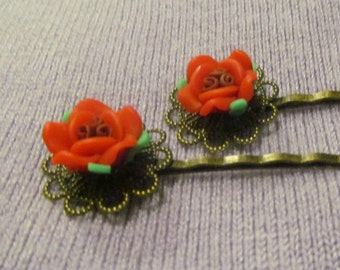Red Roses Brass Bobby Pins