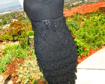 "Vintage AMAZING Full Length Black Crocheted Evening Gown ""You Belong To Me"""