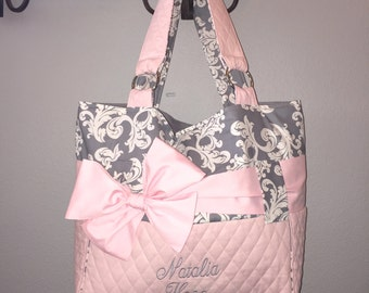 Personalized Diaper Bag  In Pink & Grey.  Add On The Matching Changing Pad And Wipes Case.  Interchangeable Bow/Sash Around The Bag