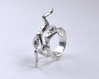 Ballerina Ring Silver - Acrobatic Dancers Ring - Silver Statement Ring with 2 Dancers Acrobats - Art jewelry - CUSTOM MADE handmade kornelia