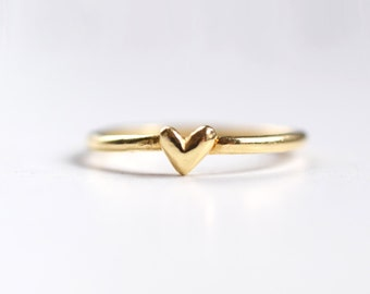 Gold Heart Ring - Tiny Heart Ring Gold - Solid Gold Ring Cute Heart - Alternative Engagement Ring - Gift Valentine Jewelry - by kornelia