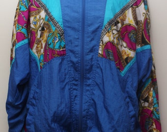 "90's Vintage ""BOLO SPIRIT"" Patterned Multicolor Windbreaker Jacket Sz: LARGE (Women's Exclusive)"