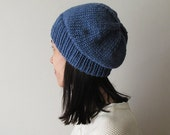Indigo Slouchy Hat, Blue Hand Knit Chunky Slouch Hat, Women Knit Hat, Wool Blend Seamless Winter Beanie, Mens Slouchy Beanie, Made to Order