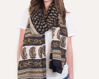 Oversized Black and Mustard Floral Scarf, Pareo, Sarong - Hand block printed, Natural Vegetable Dyes, Pareo, Stole, Shawl