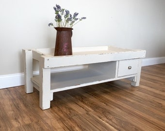 White Wood Coffee Table - Shabby Chic Coffee Table - Beach Furniture - Rectangle Coffee Table - Narrow Coffee Table, Distressed Coffee Table
