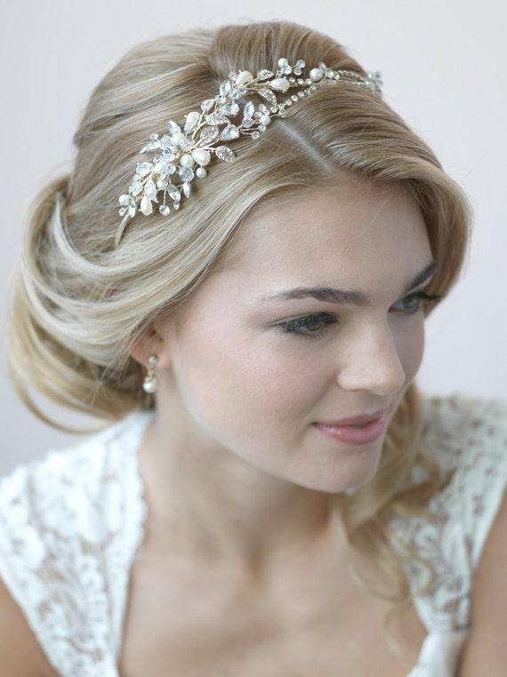 Pearl Amp Crystal Gold Headband Rhinestone Wedding Headband