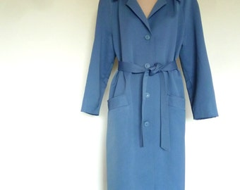Vintage Virgo Dusty Blue Polyester Overcoat With Waist Tie