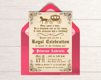 Fairytale Birthday Invitation - Printable Invite - Once Upon a Time - Royal Princess Birthday Party - Girls Birthday Party Package - BP87