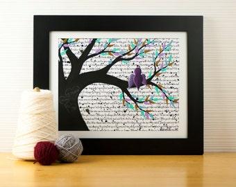 Bird Nursery Art New Parent Gift for Baby - Bird Nursery Decor Family Painting,  Personalized Purple Nursery Artwork, Single Mom Gift Idea