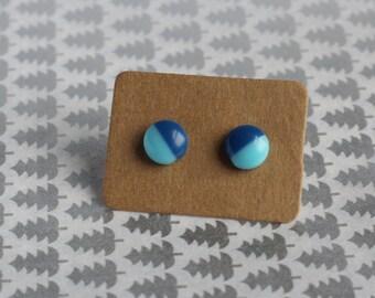 Blue Two Tone Circle Stud Earrings 8mm Tiny Earrings