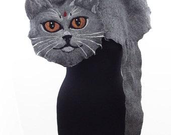 Cat Scarf Felted Scarf BRITISH SHORTHAIR cat SCARF Surreal Scarf Grey Cat Nunofelt Scarf Cat Wrap felt Scarves Felt Wrap Nuno felt