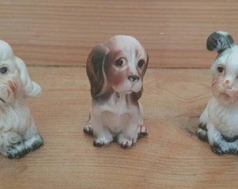 Cute Trio of Vintage China Dogs