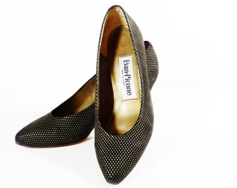 Vintage Evan Picone Pumps - Black and Gold Patterened Suede - Size 7M