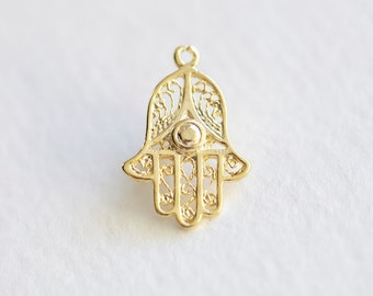 Hamsa Hand Glossy Vermeil Gold Charm - 18k gold plated over sterling silver, vermeil gold pendant, good luck