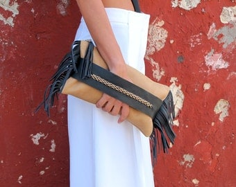 Leather Clutch Bag, Fringed Clutch FCL01 NEW