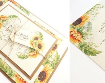 Rustic Sunflowers Wedding Invitation - SAMPLE