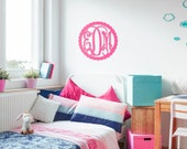 Scalloped 3 Initial Monogram Unfinished Decor Accent Wall Hanging - Natural Birch Wood or MDF - DIY Decoration Initials