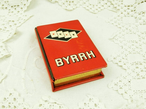 Vintage Promotional Metal Playing Card Tin by French Aperitif Drinks Company Byrrh, Advertising Red Box for Pack of Cards from France