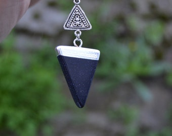 Galaxy blue stone triangle necklace, blue goldstone necklace, blue sandstone necklace