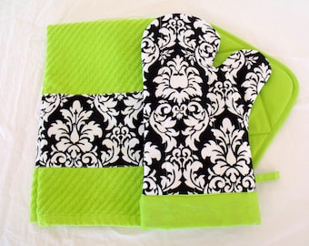 Damask Black & White with Lime Green Oven Mitt Pot Holder Set with optional towel