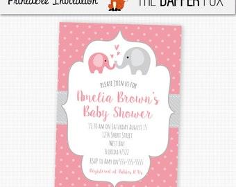 Pink Elephant Baby Shower Invitation Baby Girl - Printable, Digital, DIY - Polka Dot Baby Shower Pink and Grey Cute Elephant Invitation