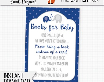 Book Request Navy Elephant Bring A Book Baby Shower insert card - printable - Books for Baby insert Baby Boy Navy Blue and Grey Cute