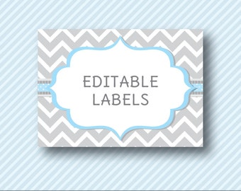 Editable PDF Printable - Grey Chevron and Baby Blue - Label / Sticker / Tent Card / Tags / Place Card - DIY