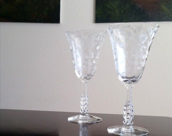 Vintage  Cambridge Roselyn  Pattern Crystal Water Goblets / Etched Roses / Unique Tall Stem