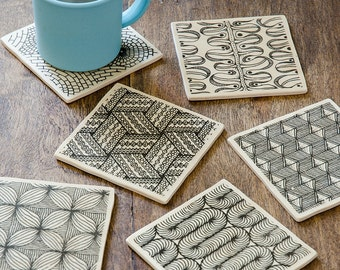 """Wooden coasters """"Patterns"""" square - set of 6"""