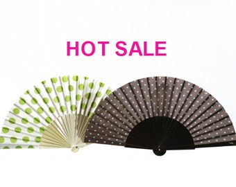 FOLDING HAND FANS | 50s retro style polka dots | A set of 2 designer handfans  | summer fashion accessories | Free Shipping Worldwide