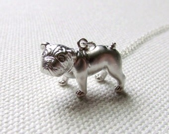 Silver French Bulldog Necklace, Sterling Silver Chain, 3D Dog Pendant Quirky Animal Dog Jewelry Frenchie