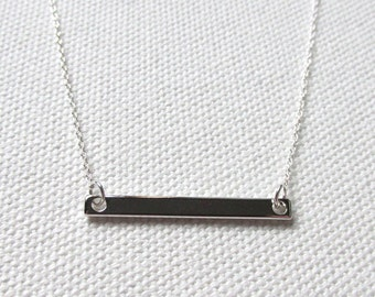 Simple Silver Bar Necklace, Sterling Silver Chain, Tiny Petite Simple Jewelry Dainty Everyday