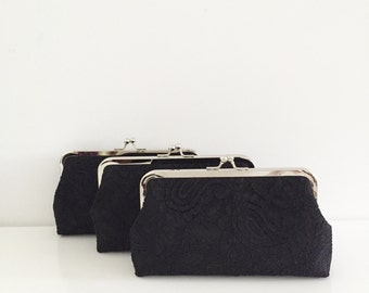 Bridesmaid Clutches Set of 4, Black Lace Clutch, Personalized Clutch for Your Bridesmaids, Wedding Clutch Purse, Mother of the bride
