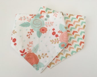 Set of Two Baby Bandana/Drool Bibs...Coral/Mint/Gold...Ready to Ship...Embroidery Option...Shower Chic