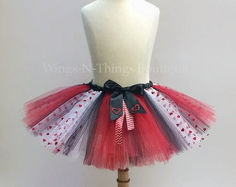 VALENTINE TUTU SKIRT, Childrens Costume, Girls, Baby, Toddler, hearts, love, kids, black, red, white, Harley Quinn, Queen of Hearts