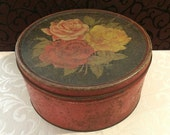 Cottage Chic, Large Tin Box, Primitive Box, Romantic Décor, 1920s, Large Roses, Pretty Patina, Decorative Box, Antique Tin Box, Boho, Gypsy