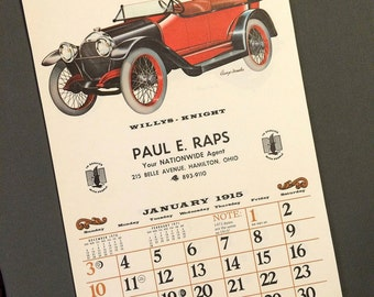 1971 Calendar, Automemories of 1915, Old Fashioned Antique Cars Auto Automobile, Willys Knight, Nationwide Insurance, Vintage Calendar
