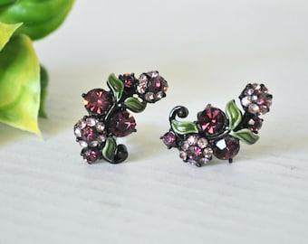 Vintage Designer HOLLYCRAFT Japanned Black Earrings, Purple Floral Party Rhinestone Enamel Signed Jewelry, Purple Rhinestone Flower Clip Ons