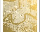Gold Foil New Orleans Street Map, Gold Foil Map, Gold Print, Gold Foil Wall Art, Trendy Art, Gold Wall Decor, New Orleans Map Print, NOLA