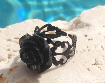 Black rose ring, rose ring,  rose statement ring, rose jewelry, black rose statement ring