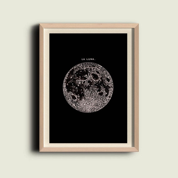 Full Moon in the dark  Print Poster, Astronomy Wall Art, Luna, Minimalist Poster, Lunar Moon Print, Vintage Luna, Celestial Dorm Room Art