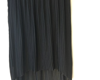 Black pleated skirt  2X chiffon asymmetric hem lined summer party skirt Cocktails forever pleats  plus size elastic waistband up to 50""