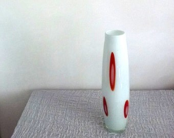 white orange glass vase- tall 60s vase-Sweetlakevintage
