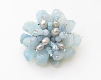 Aquamarine blue stone flower brooch with crystal, gray freshwater pearl, flower pin, blue brooch, blue stone brooch, flower