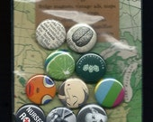 Pinback Button Grab Bag - Baker's Dozen- 1 inch size - Bride of Frankenstein, Nurses, Marilyn Monroe misc