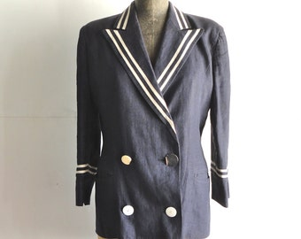 UHMBERTO GINOCCHIETTI Double Breasted Nautical Sailor Blazer. Sz 42. Italy.