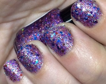 Bright and Bubbly Nail Polish - holographic purple glitter bomb