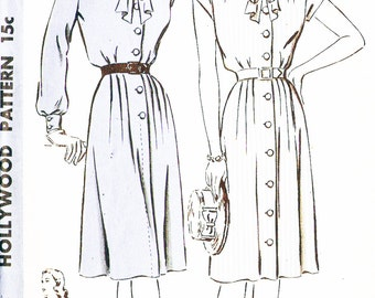 Hollywood 1577 Misses' Vintage 1940s Dress with Tie Collar Sewing Pattern