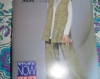 See and Sew 4135 Misses / Misses Petite Vest Tunic and Pants Sewing PAttern - UNCUT - Sizes 6 8 10