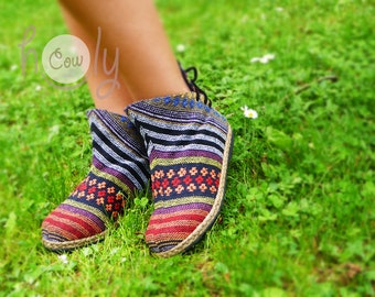 Women's Tribal Vegan Ankle Boots, Womens Ankle Boots, Women's Tribal Boots, Vegan Boots, Hmong Boots, Hippie Boots, Boho Boots, Ethnic Boots